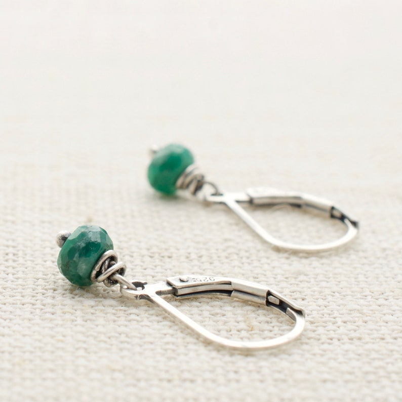 Emerald Earrings May Birthstone Sterling Silver Wire Wrapped image 0