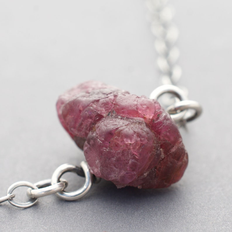 Genuine Ruby Necklace with Sterling Silver  Wire Wrapped image 0