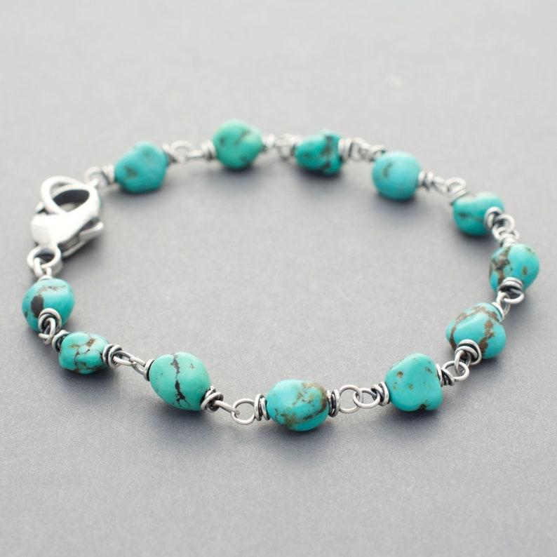Turquoise Gemstone and Sterling Silver Boho Chic Bracelet  image 0