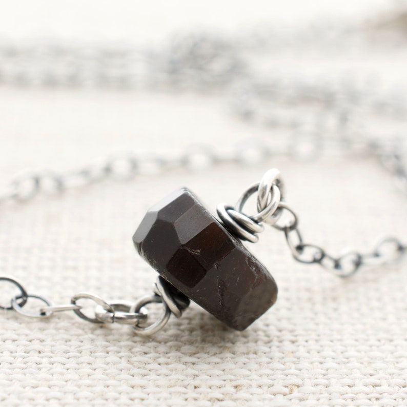 Black Tourmaline Necklace  Birthday Gift for Women  Sterling image 0