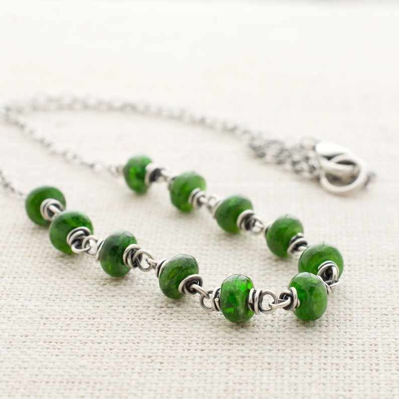 Chrome Diopside Beaded Necklace Sterling Silver Wire Wrapped image 0