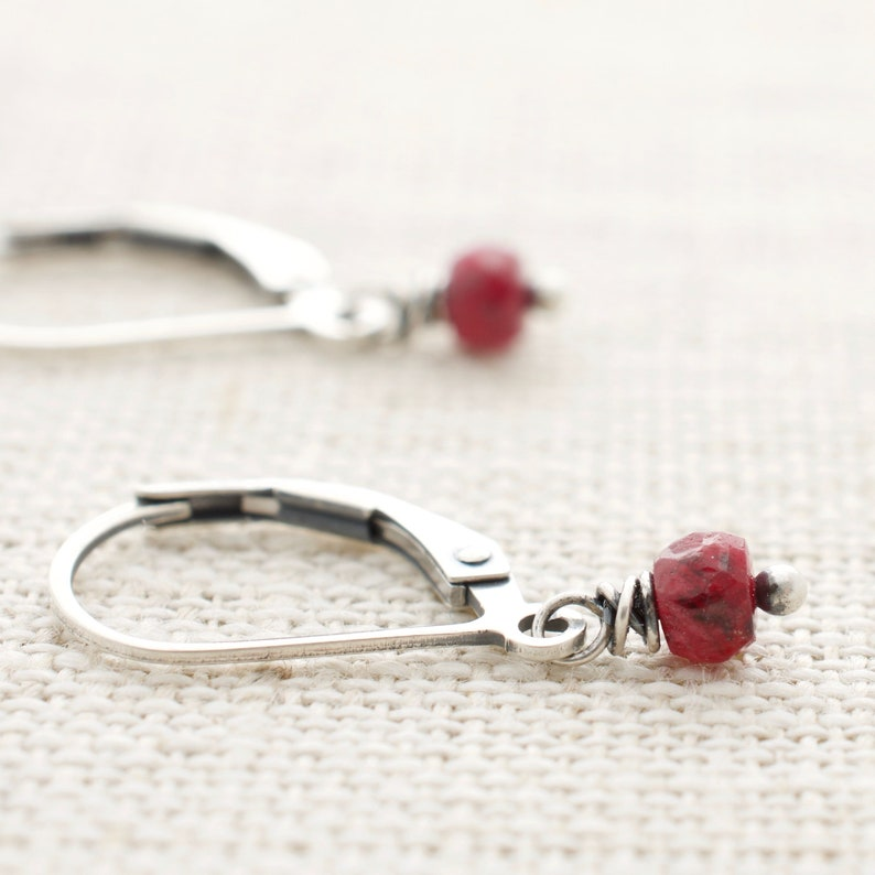 Sterling Silver Short Dangle Ruby Earrings July Birthstone image 0
