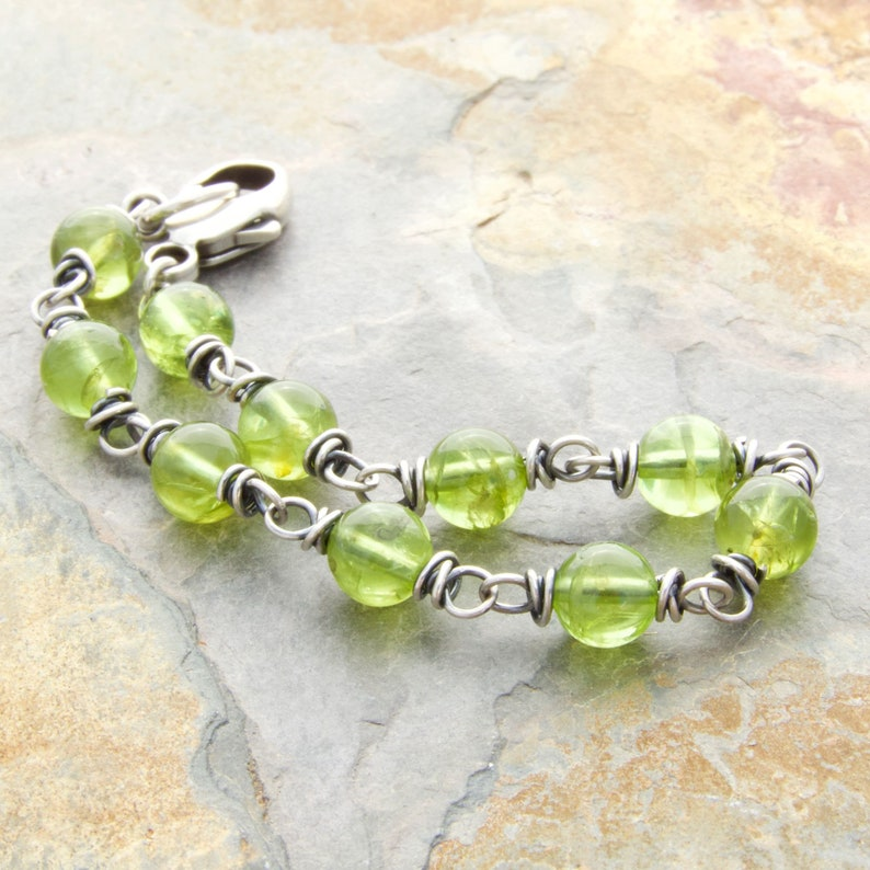 Peridot Green Gemstone Bracelet  August Birthstone Gift for image 0