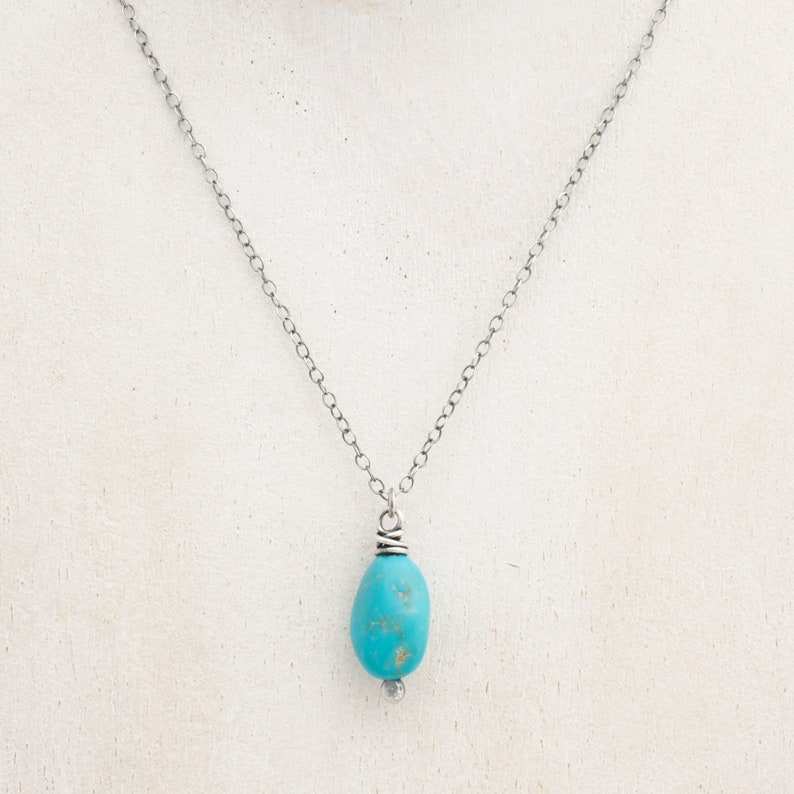 Turquoise and Sterling Silver Boho Chic Pendant Necklace  image 0