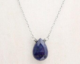 Blue Lapis Lazuli Teardrop Pendant Necklace, Sterling Silver, Deep Blue Gemstone, Birthday Gift for Best Friend, #4802