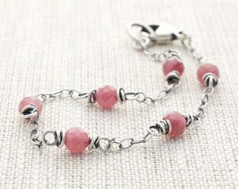 Pink Tourmaline Sterling Silver Bracelet, October Birthstone, Wire Wrapped, Best Friend Gift, #5155