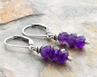 Amethyst Jewelry for Women - February Birthstone Earrings - Amethyst Earrings - Purple Gemstone Earrings - Lever Back Drop Earrings - #4903