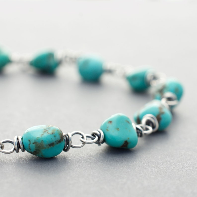 Wire Wrapped Turquoise Bracelet  Gemstone and Sterling Silver image 0