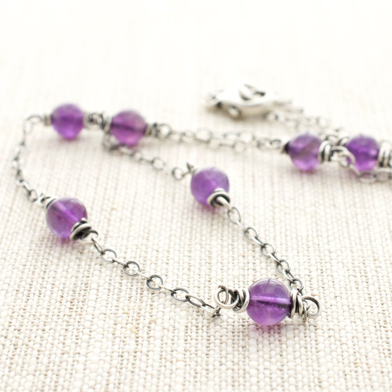 Amethyst Sterling Silver Station Necklace Purple Gemstone image 0