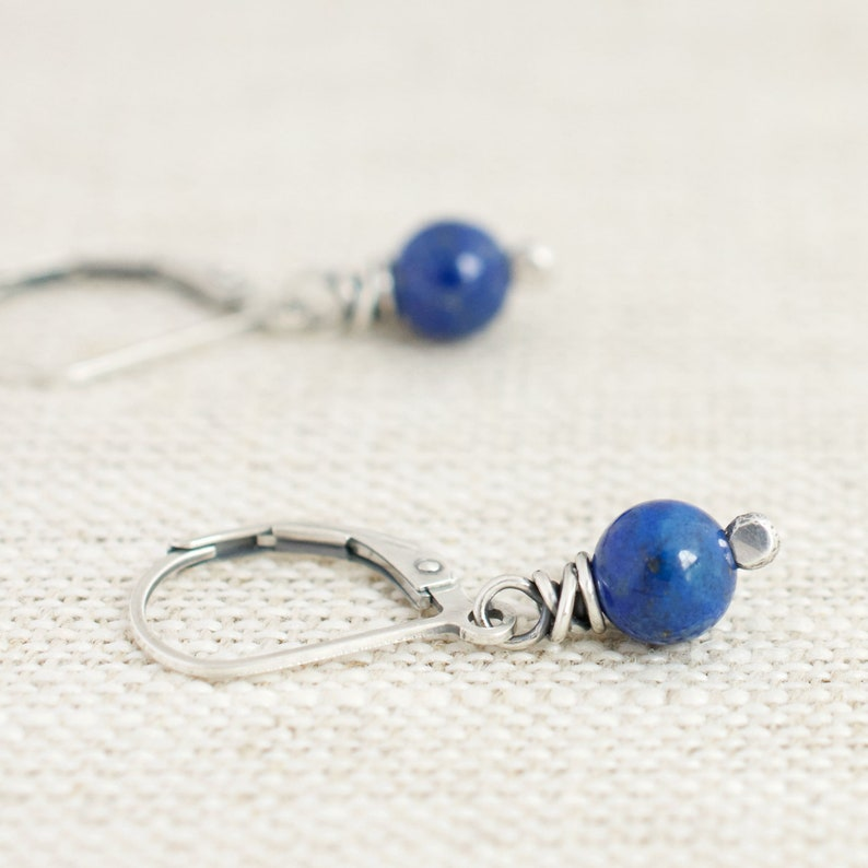 Cobalt Blue Lapis Earrings Sterling Silver Wire Wrapped image 0