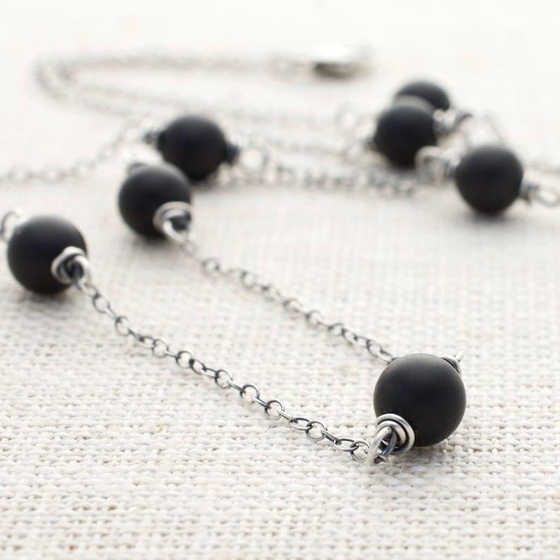 Black Bead Necklace Onyx Gemstone Station Necklace Sterling image 0