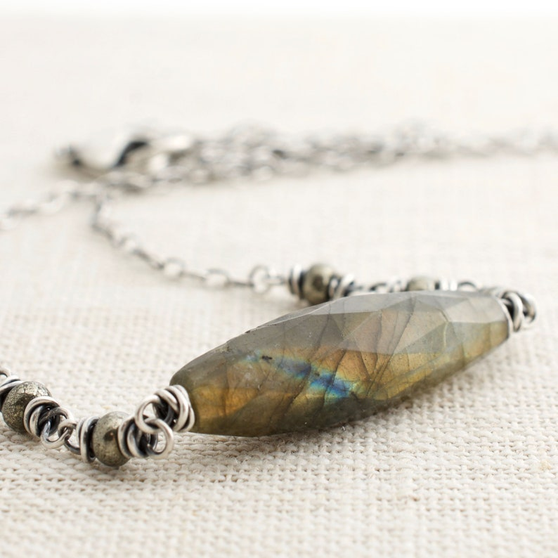 Labradorite Necklace with Blue and Orange Flash. Sterling image 0