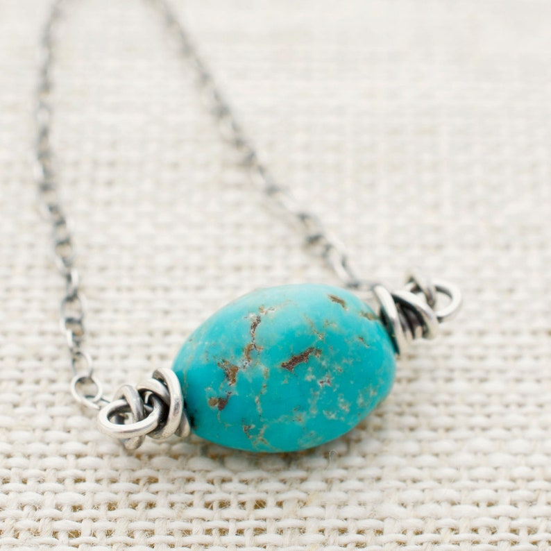 Turquoise Necklace  Wire Wrapped Gemstone with Sterling image 0