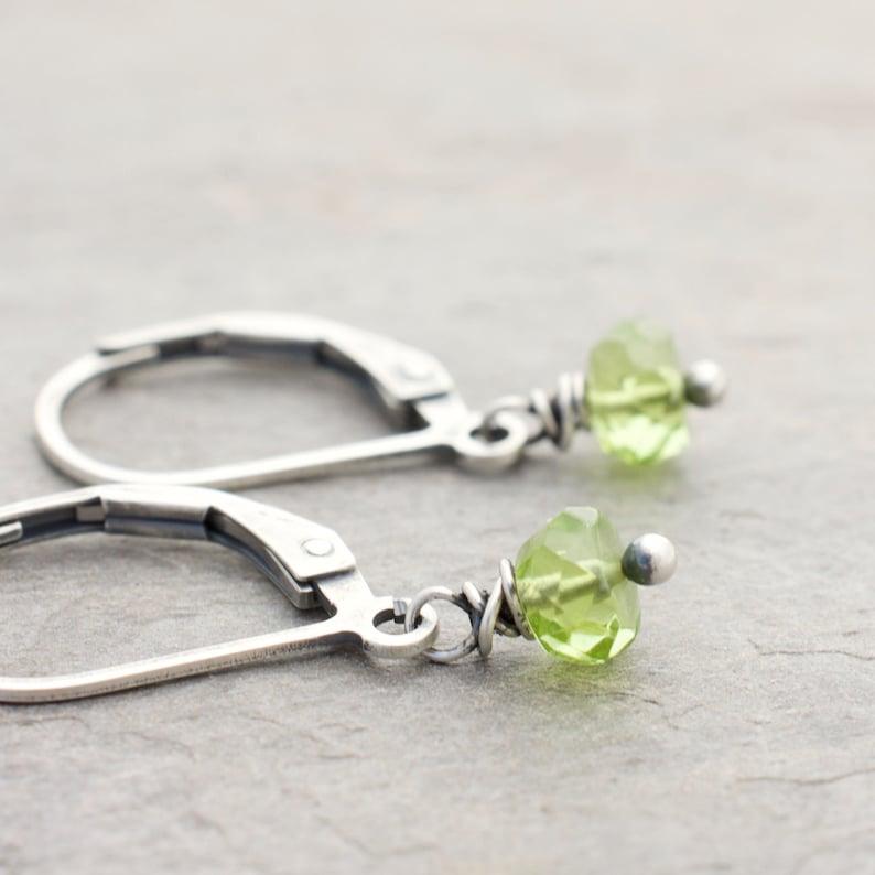 Petite Sterling Silver Peridot Gemstone Dangle Earrings   image 0