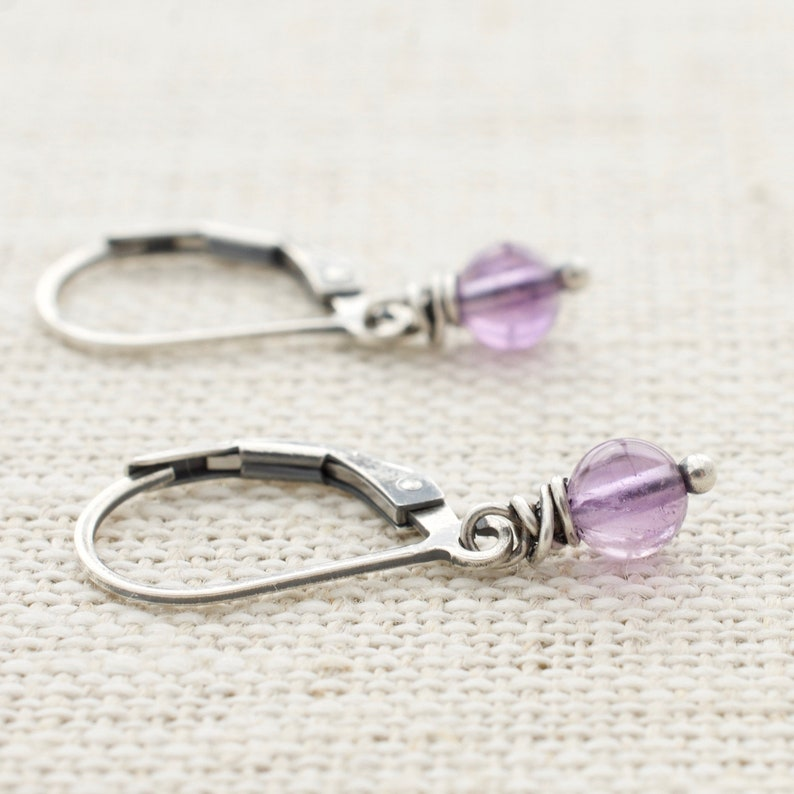 Sterling Silver Amethyst Earrings  February Birthstone  image 0