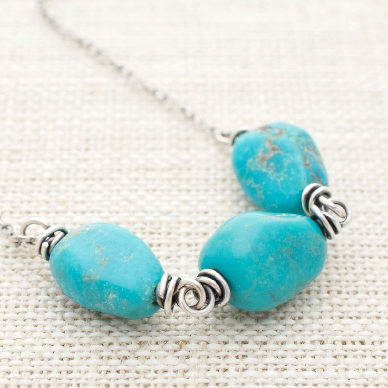 Sterling Silver Turquoise Necklace  December Birthstone  image 0
