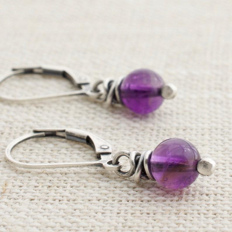 February Birthstone Earrings  Amethyst Gemstone  Gift for image 0