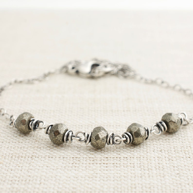 Pyrite Necklace with Sterling Silver Wire Wraps. Boho Chic image 0