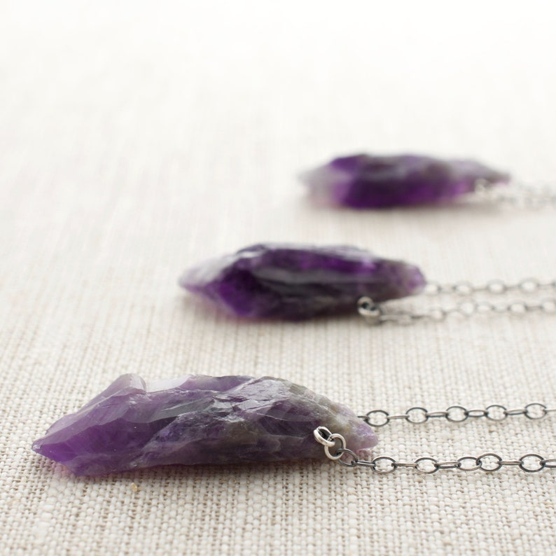 Raw Amethyst Necklace Sterling Silver February Birthstone image 0