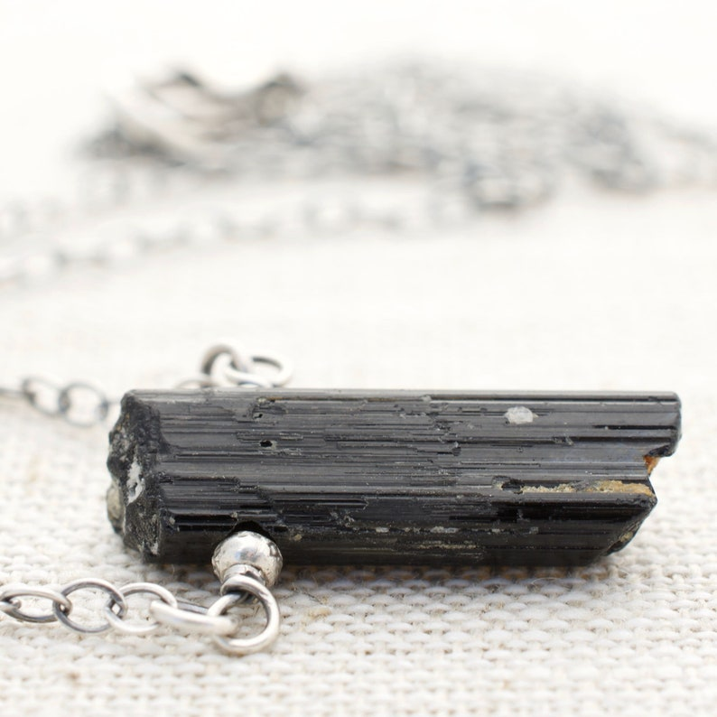 Black Tourmaline Necklace  October Birthday  Gift For Women image 0