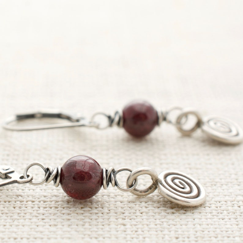Red Garnet Earrings with Spiral Dangle  January Birthday image 0
