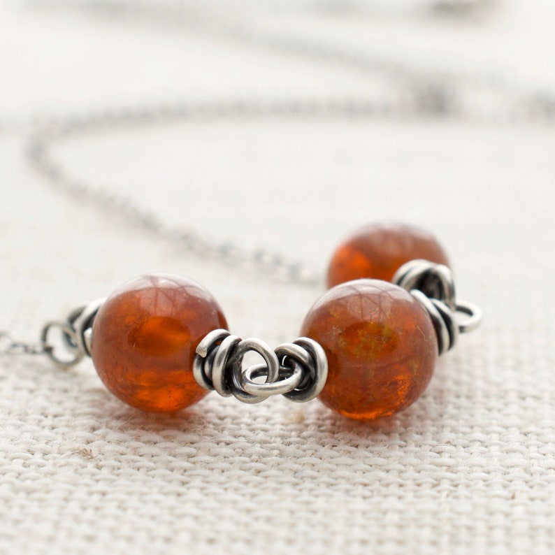 Sterling Silver Garnet Necklace  Garnet Gemstone  Orange image 0