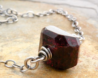 Red Garnet Necklace - January Birthstone Jewelry - Natural Garnet Jewelry - Sterling Silver #4780