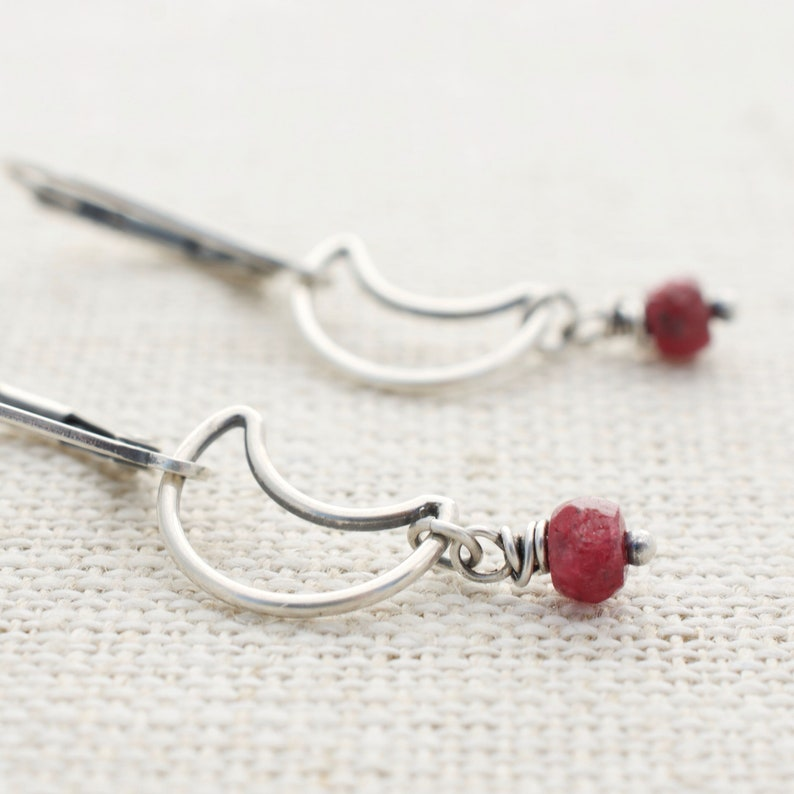 Sterling Silver Genuine Ruby Earrings with Crescent Moon Wire image 0