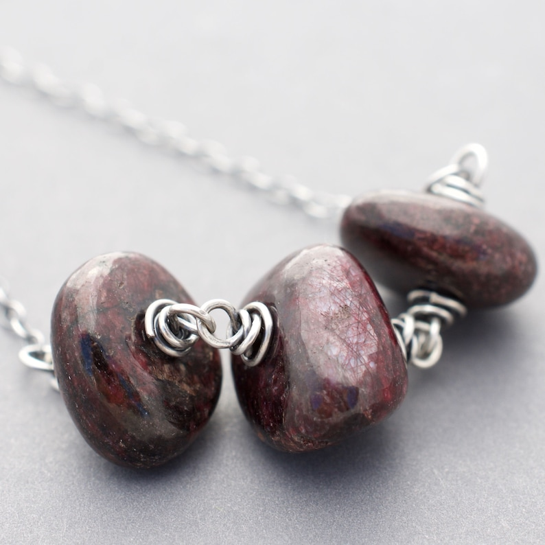 Ruby Birthstone Necklace  Tumbled Stones  July Birthday Gift image 0