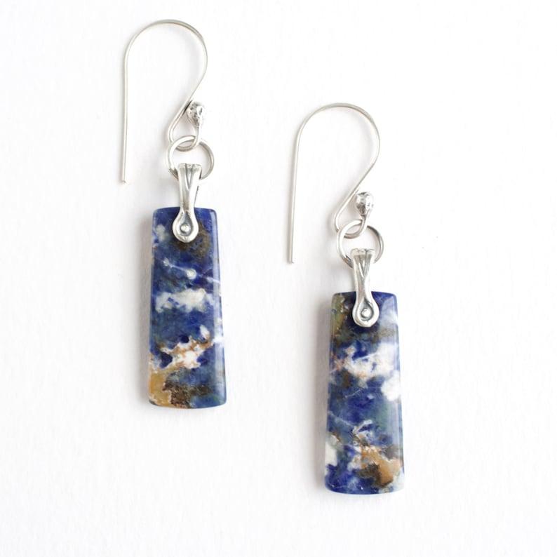 Blue Dangle Sodalite Gemstone Earrings Sterling Silver image 0