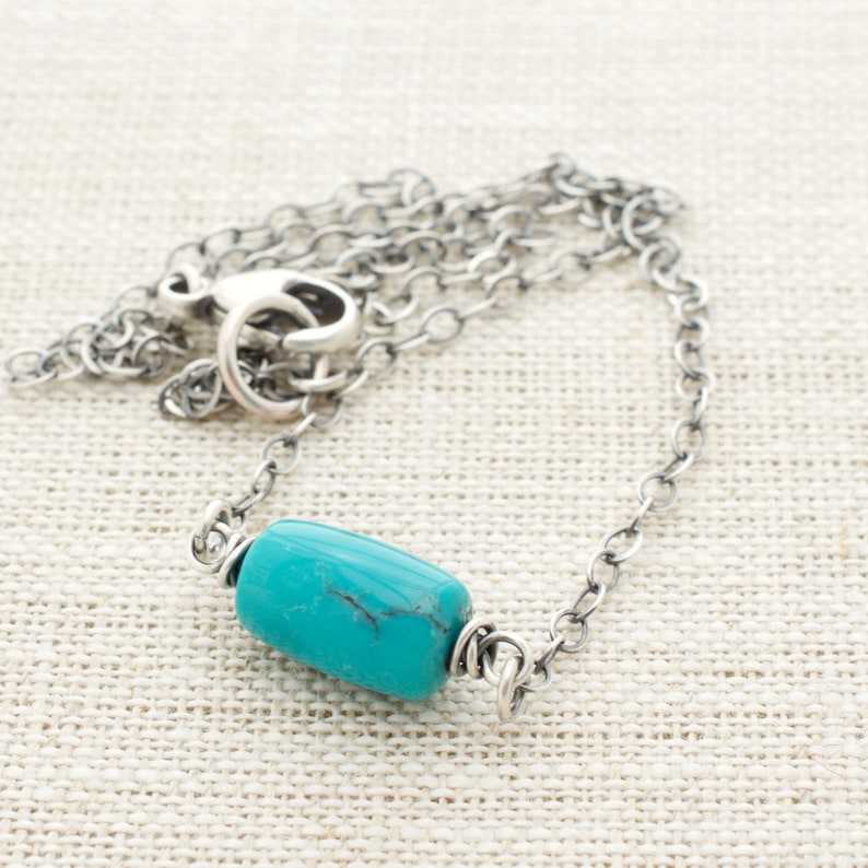 Genuine Turquoise Bead Necklace with Sterling Silver. image 0
