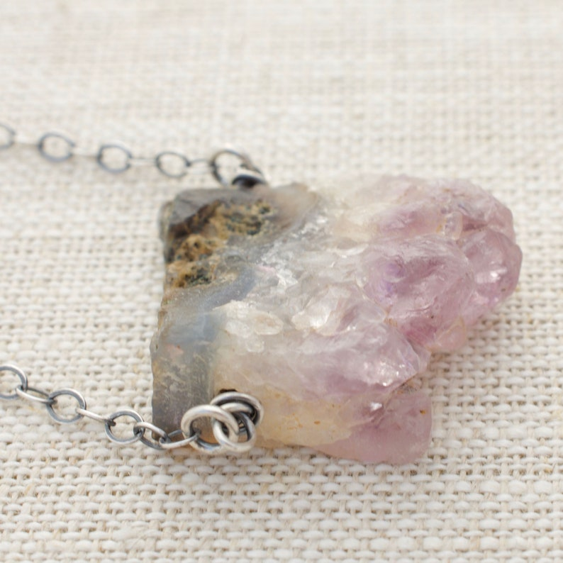 Druzy Amethyst Necklace Sterling Silver Wire Wrapped image 0