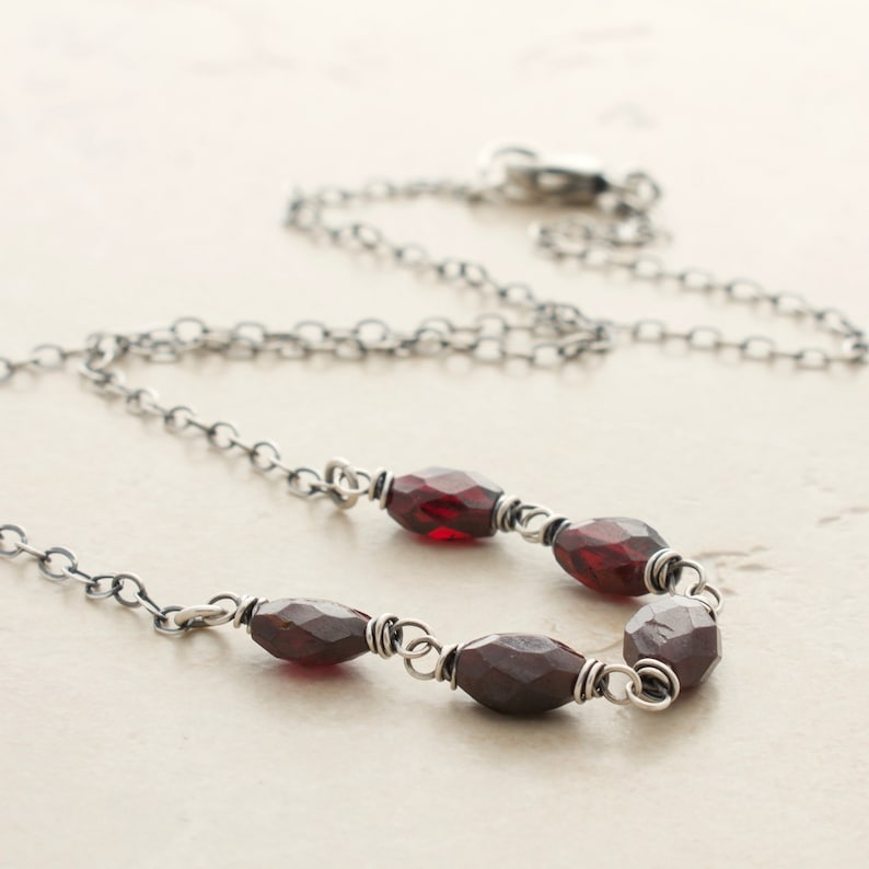 Red Garnet Gemstone and Sterling Silver Necklace  January image 0