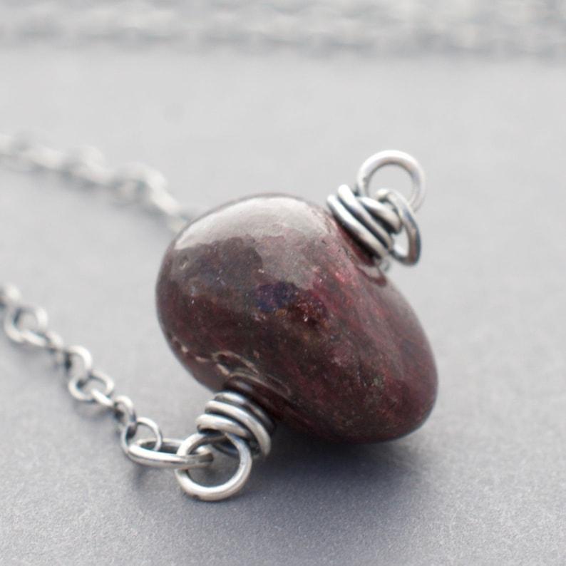 Minimalist Tumbled Ruby Gemstone Necklace  July Birthday Gift image 0