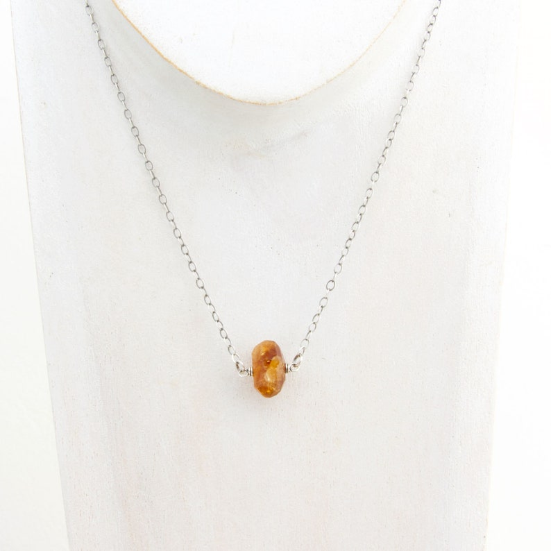 Orange Yellow Citrine Gemstone Necklace with Sterling Silver  image 0