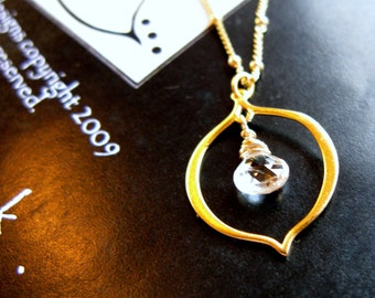The light Within 24K Gold vermeil lotus petal and white topaz briolette necklace