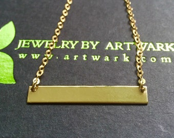 Gold bar necklace gold vermeil rectangle chain one of a kind