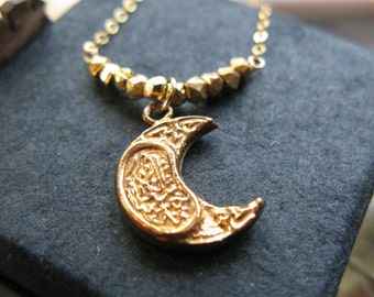 24K Allah is One moon and faceted nugget beads necklace Eid Gift chain womens girls