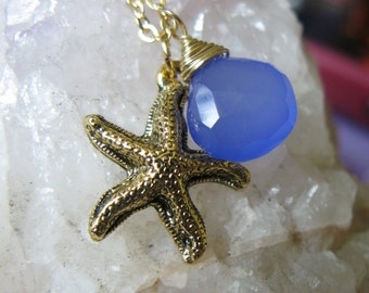 Summer Splash Antique Gold starfish and cobalt sky chalcedony necklace SUMMER collection