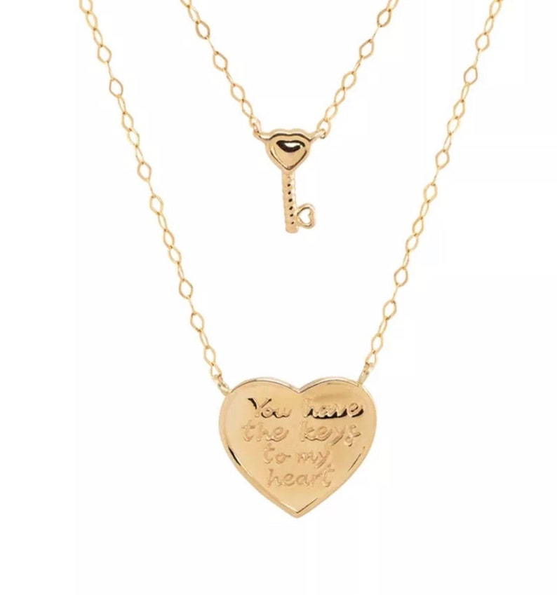 14K Yellow Gold heart enraved key layering necklace 2 layer image 0