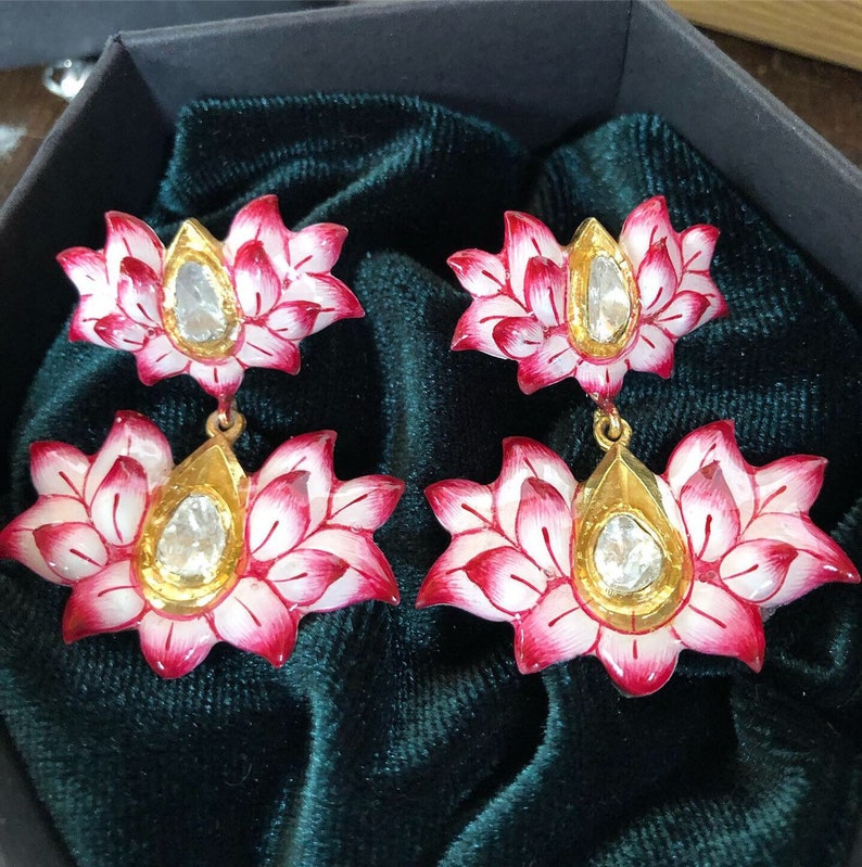 Lotus earrings Polki diamond enamel flower floral dangle drop image 0