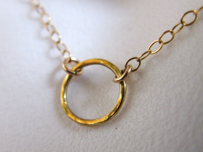 14K GOLD GV vermeil tiny small hammered smooth you choose image 0