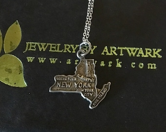 New York i heart ny nyc rochester buffalo albany vintage Sterling silver new york state map charm necklace chain pendant