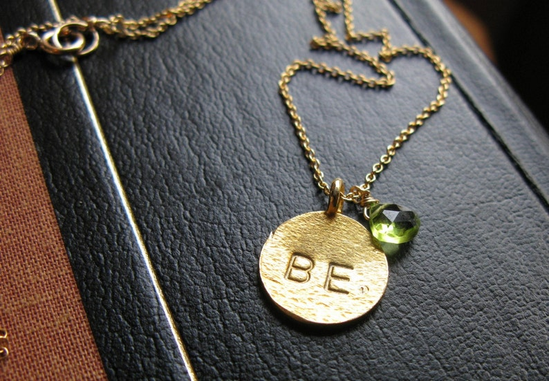 Just Be Gold Vermeil hand stamped peridot customized necklace image 0
