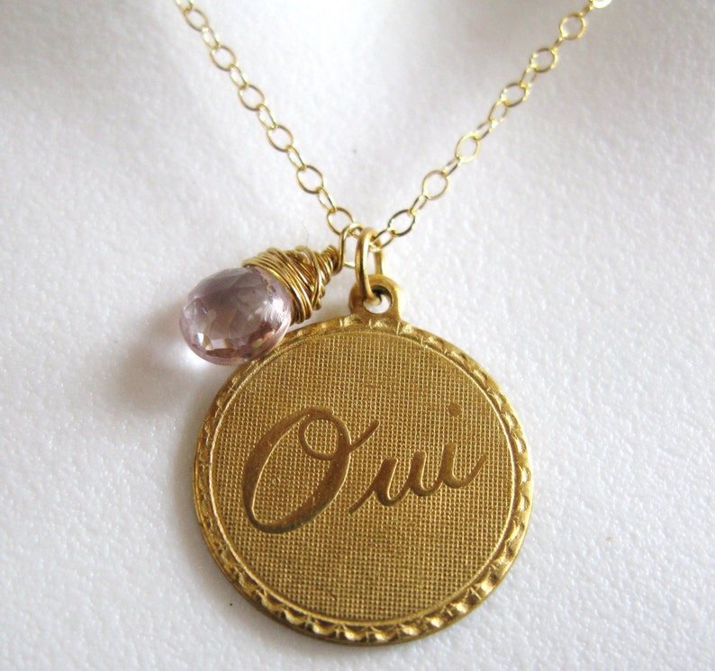 SALE Gold french OUI yes pink topaz coin disk disc medallion image 0