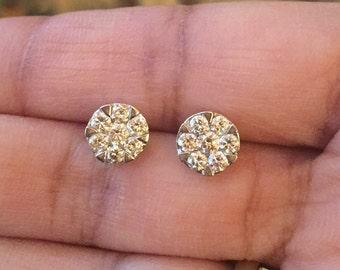 Sparkler stunning 3/4 .75 carat round diamond G VS2 14K white Gold cluster diamond unisex earrings