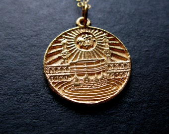 24K Kaaba Allah script Coin lire Islamic Necklace pendant womens