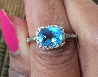 14K white gold cushion cut basket cut rose cut Flawless grade AAA sky blue topaz pave diamond halo ring size 5.5