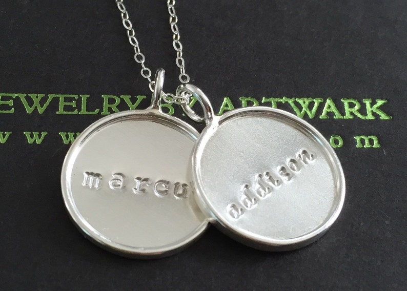 Sterling silver round bezel disc double trouble disc charm image 0
