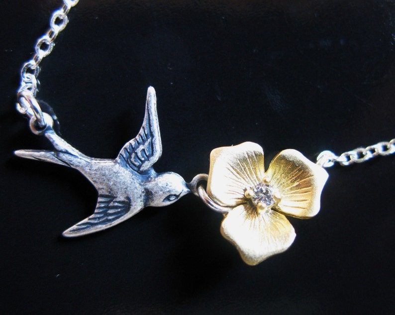 Humming Bird Song vintage sparrow and gold plated blossom with image 0